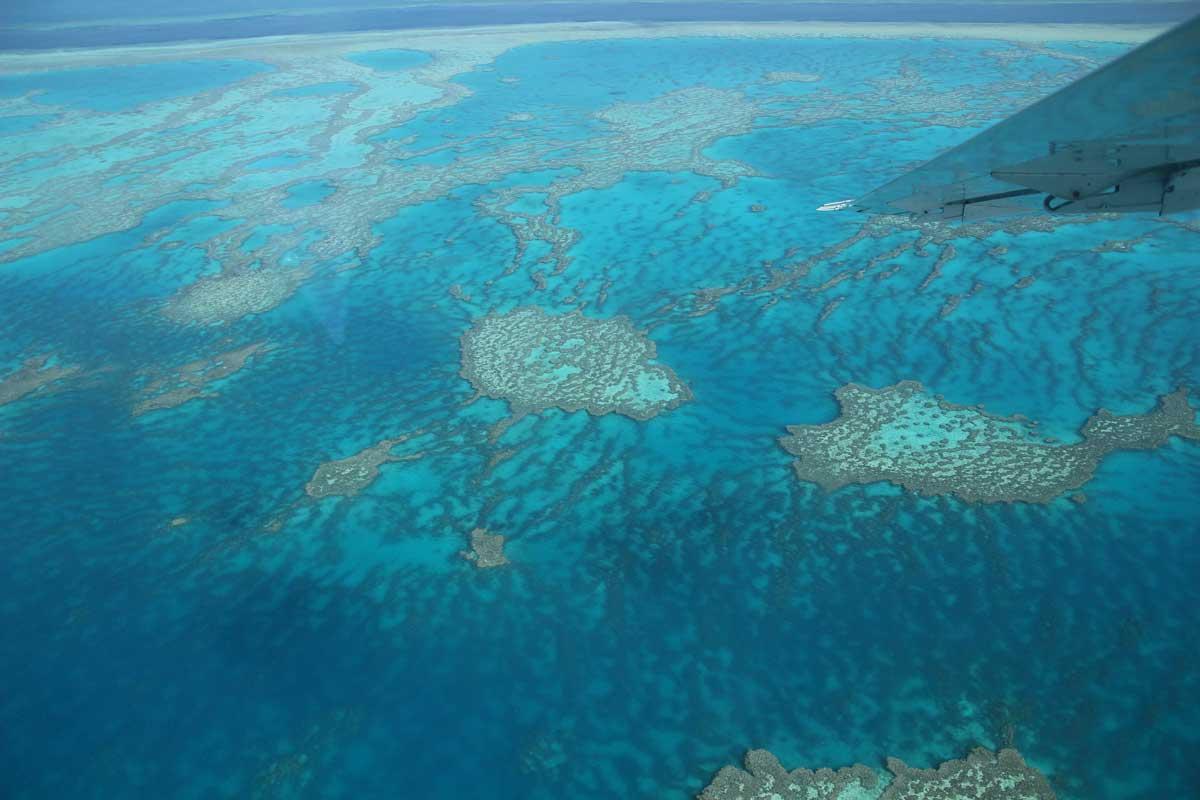 Grand Barriere de Corail vue avion Whitsundays Australie