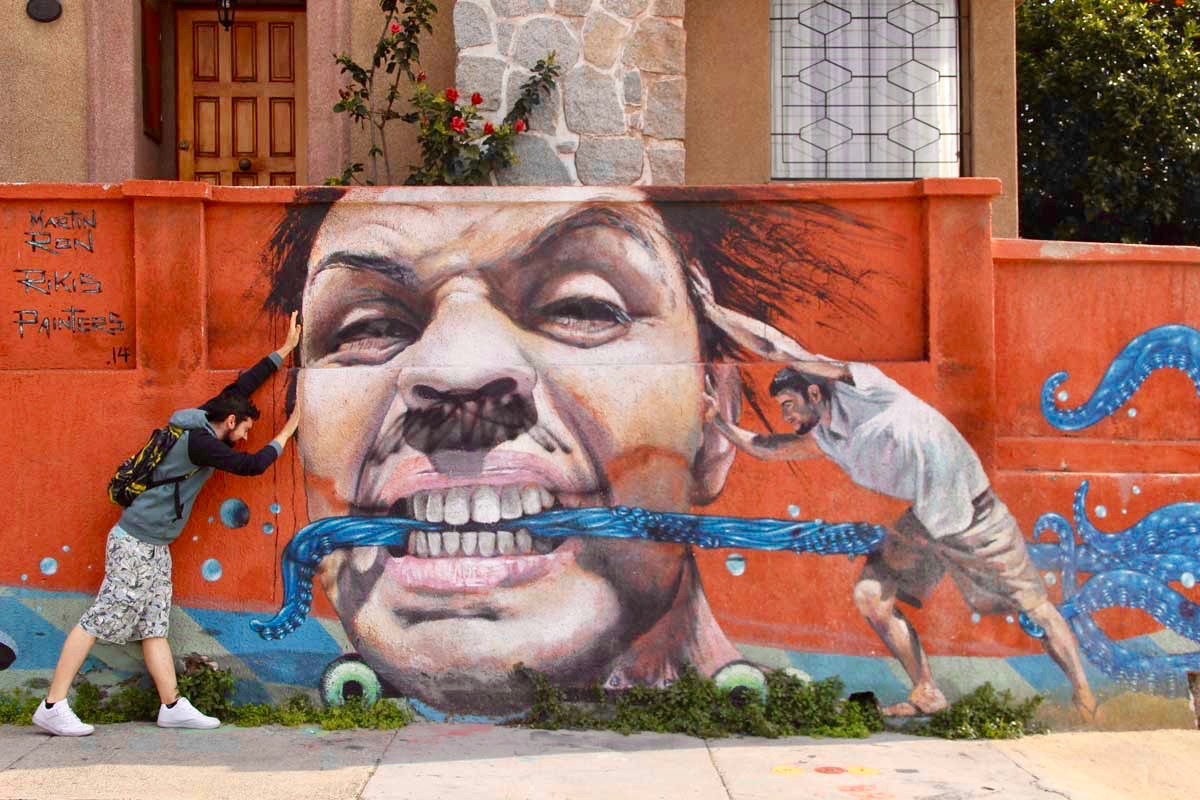Leo street art Valparaiso Chili