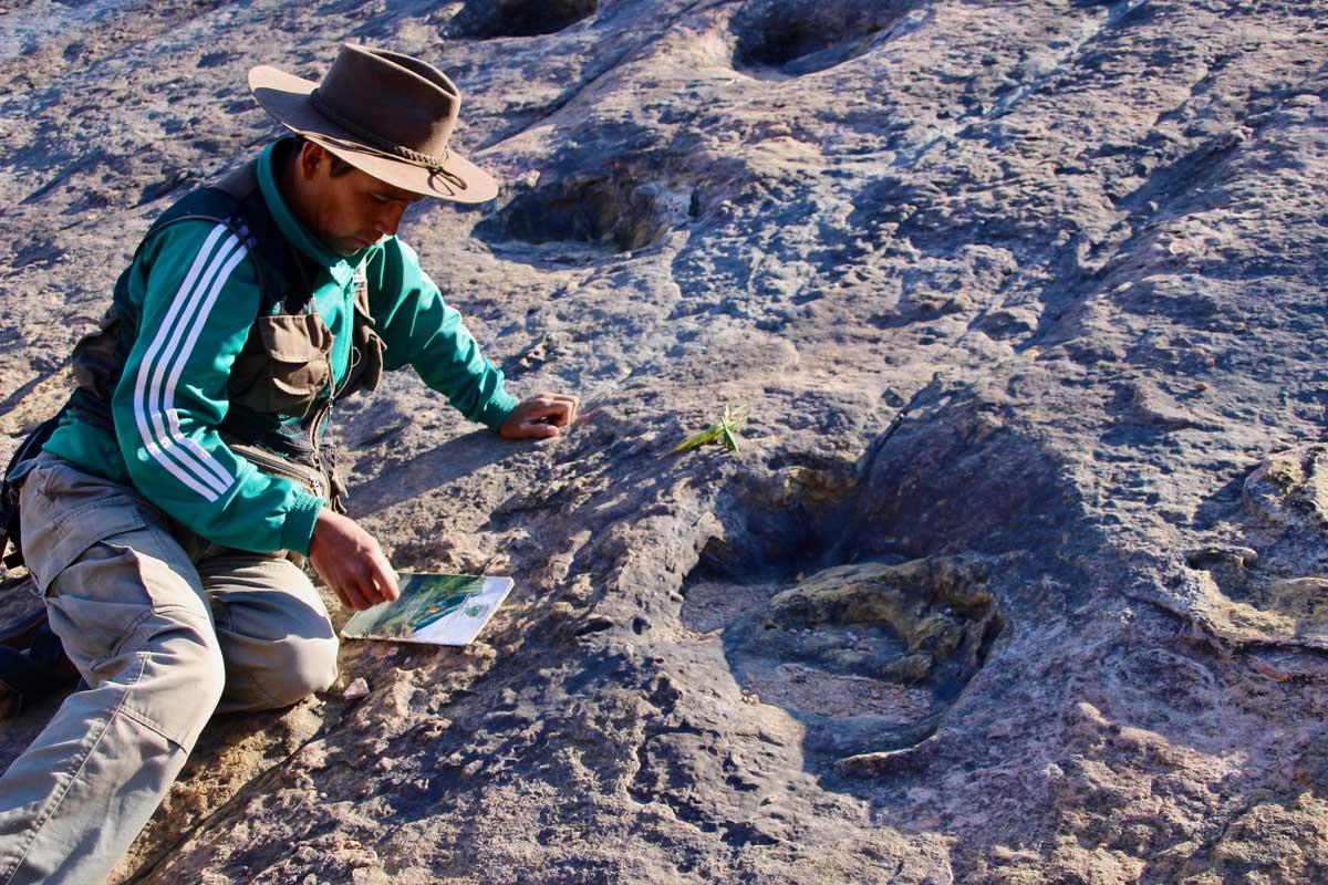 Guide trace dinosaure Toro Toro Bolivie