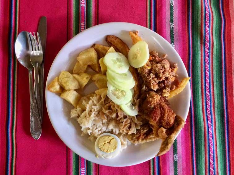 repas death road la paz bolivie