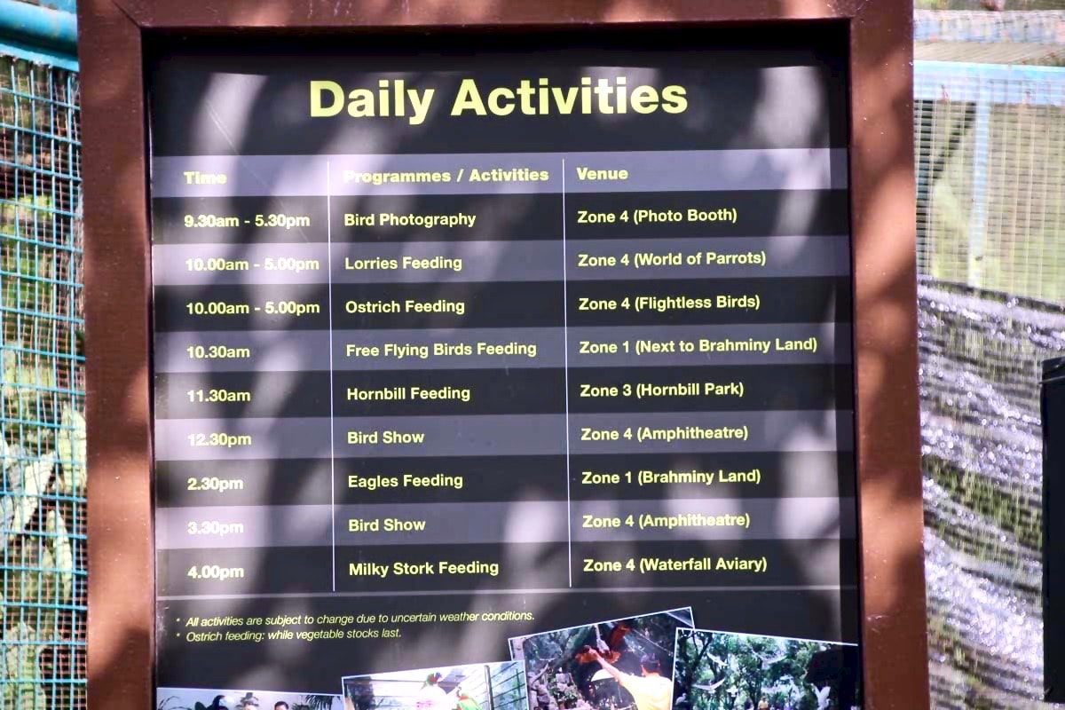 Horaires activites KL Bird Park Kuala Lumpur