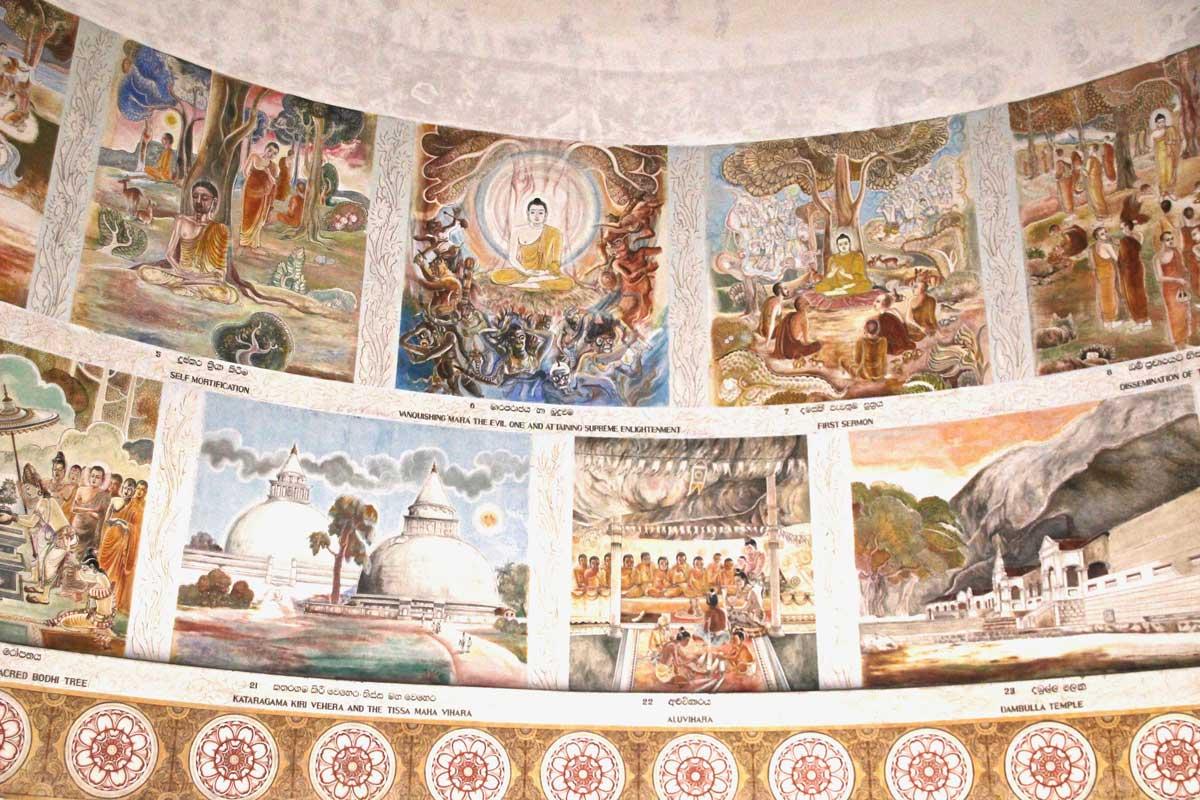fresques bouddha Sambodhi Chaitiya Colombo