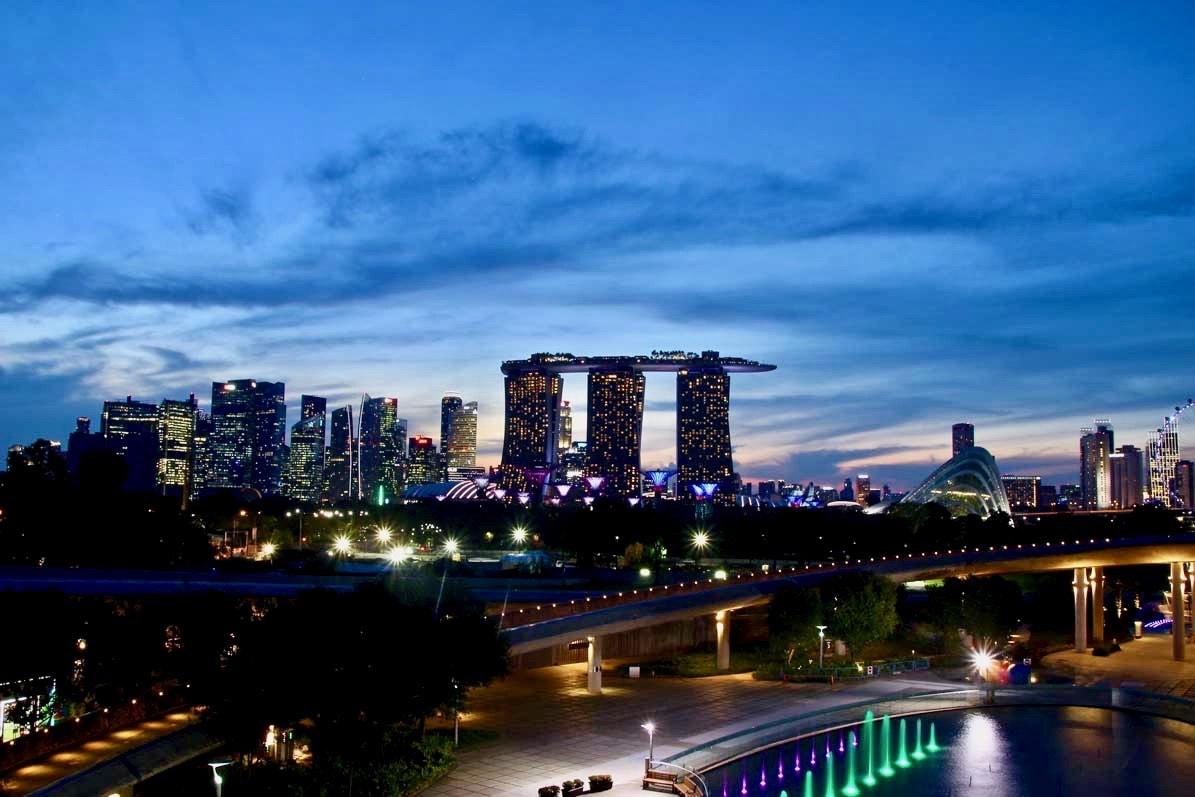 Skyline Singapour depuis barrage