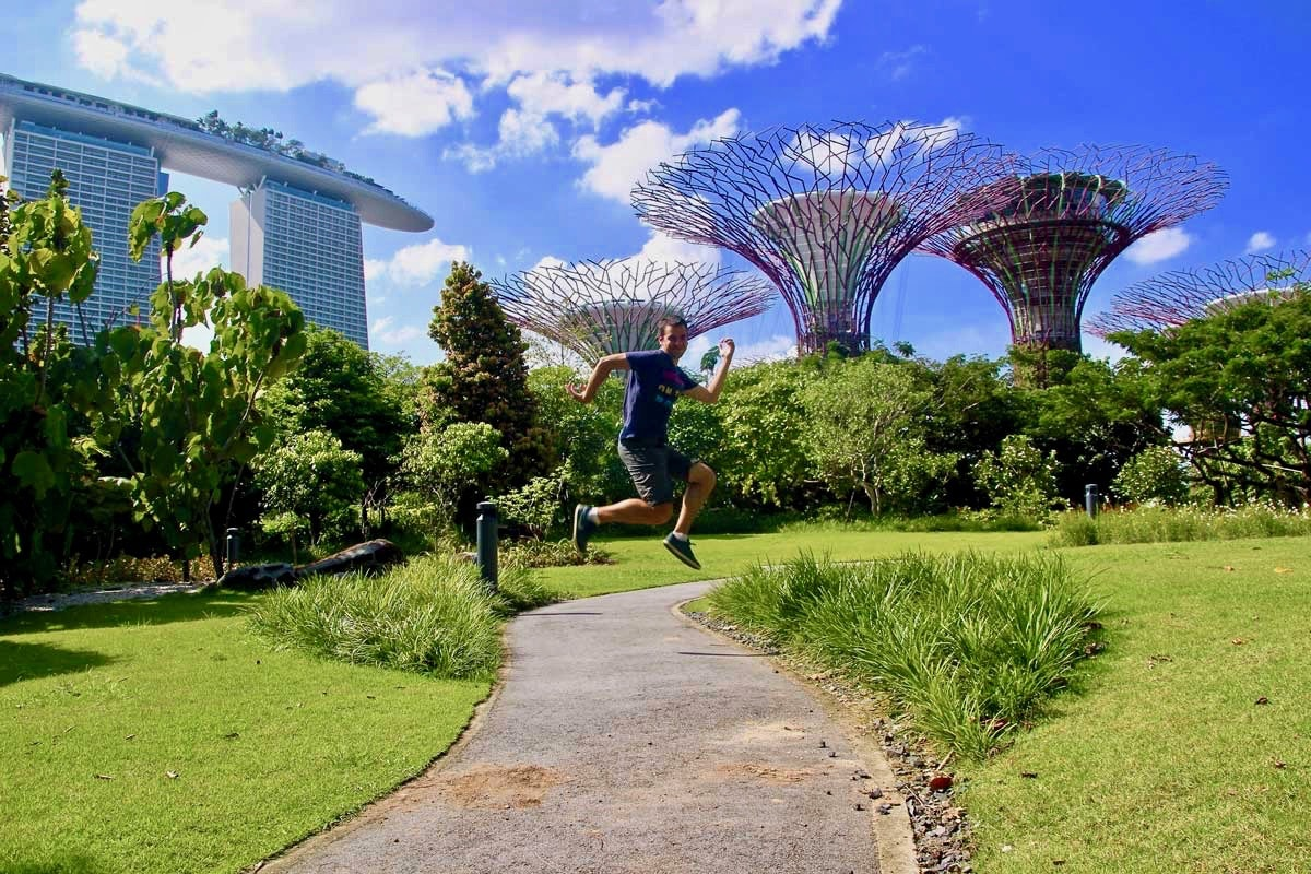 Tom saut Gardens by the Bay Singapour