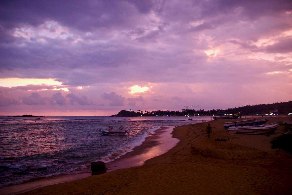 unawatuna coucher de soleil plage
