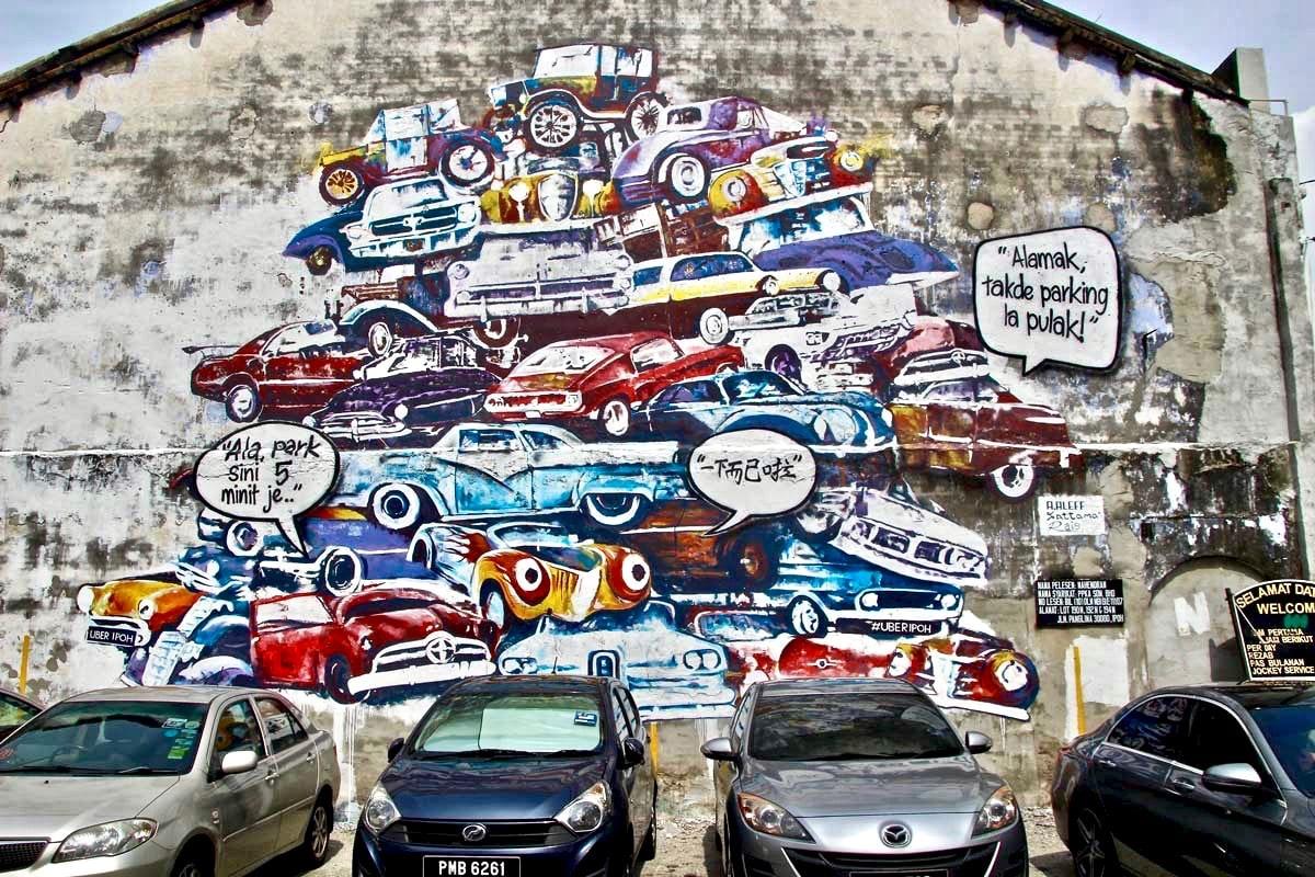Street Art Ipoh voitures