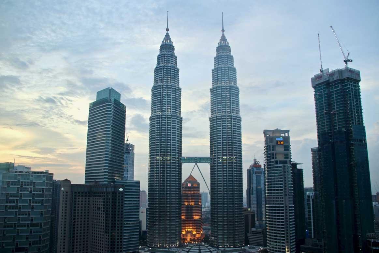vue depuis le Traders Hotel Tours Petronas Kuala Lumpur