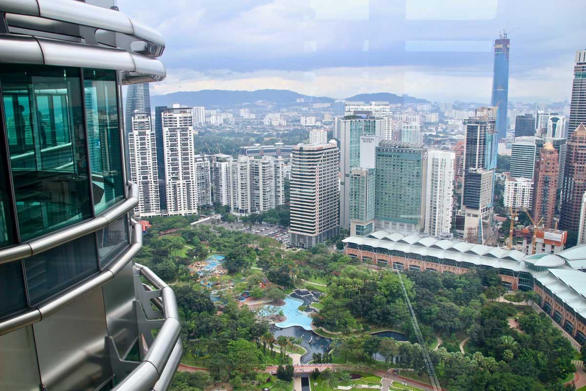 vue depuis le skybridge Tours Petronas Kuala Lumpur
