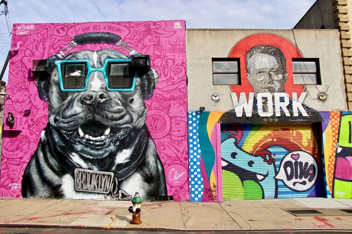 Street Art Art Urbain chien New York Visiter Brooklyn en 2 jours